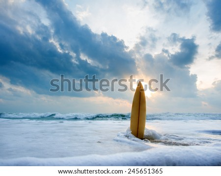 Surfboard on the beach at sunset #245651365