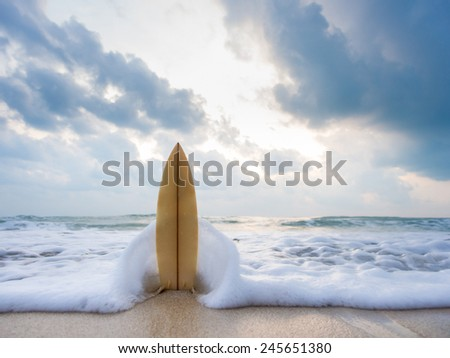 Surfboard on the beach at sunset #245651380
