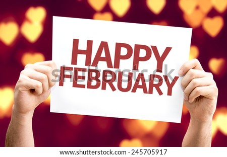 Happy February card with heart bokeh background