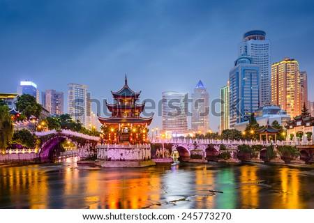 Guiyang, China skyline at Jiaxiu Pavilion on the Nanming River. Royalty-Free Stock Photo #245773270