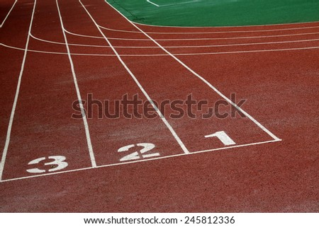 plastic runway in a sports ground in a middle school #245812336