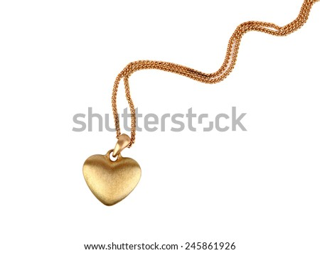Golden heart pendant isolated on white #245861926