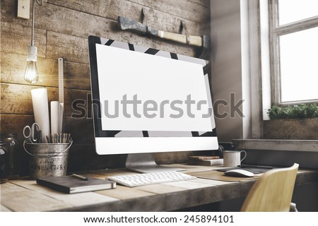 Stylish workspace with computer  on home or studio #245894101