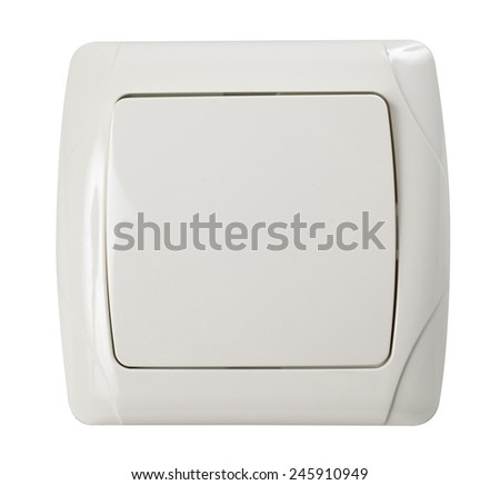 Wall electric light switch in Ivory color isolated on white with clipping path. #245910949