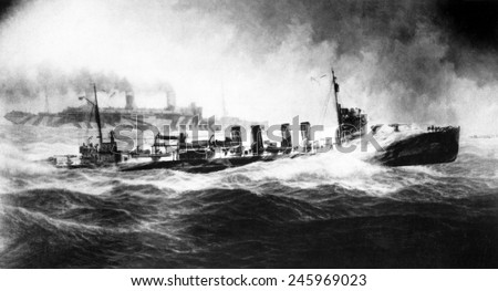 USS Allen convoying USS Leviathan (in distance). USS Leviathan, was a German flag passenger liner Vaterland. Painting by Burnell Poole. Ca. 1917-18. #245969023