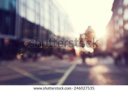 people in bokeh, street of London Royalty-Free Stock Photo #246027535
