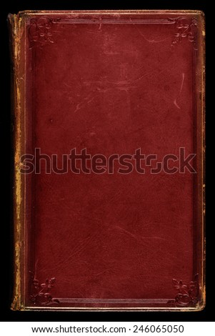 Antique red leather book cover; textured with age, stains and scratches. Tooled gilded frame and floral edge emblems. Use as background.  Royalty-Free Stock Photo #246065050