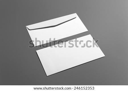 Blank envelopes stationery set isolated on grey Royalty-Free Stock Photo #246152353
