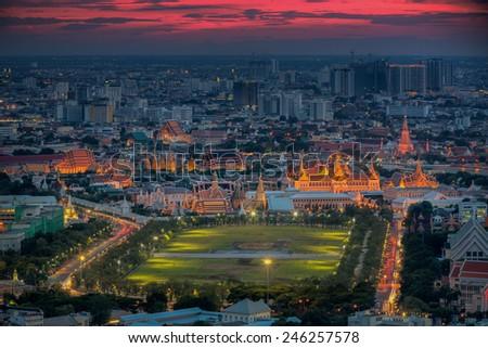 City park, Wat Prakeaw and Grand palace at twilight in Bangkok, Thailand #246257578