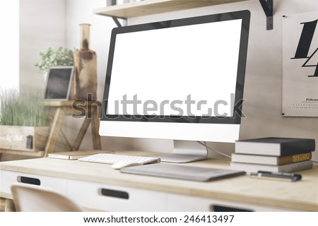 Stylish workspace with computer  on home or studio #246413497