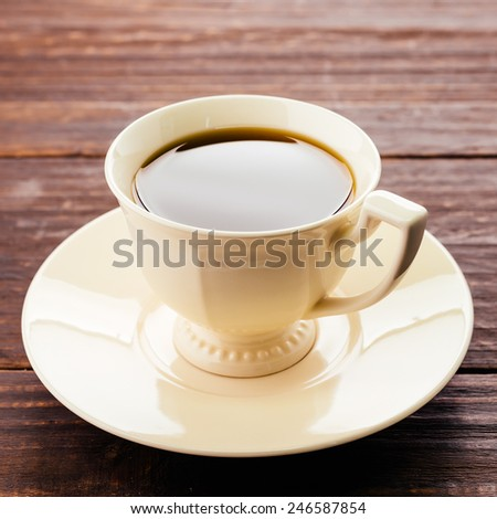 Coffee mug on wood background - Vintage effect style pictures #246587854
