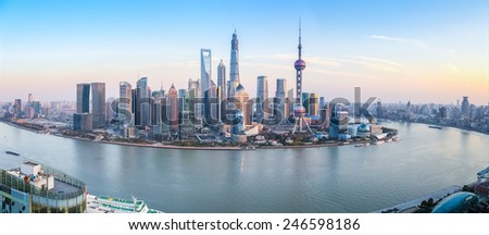 shanghai skyline panoramic view at dusk ,China
