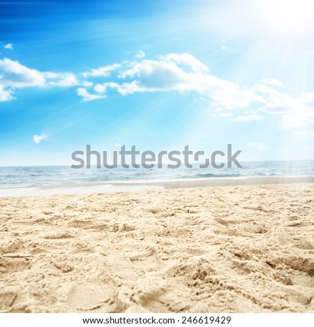 landscape of ocean and sun on sky with coast  #246619429