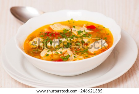 chicken soup with noodle and vegetables #246621385