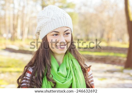 Happy Young Caucasian Woman Portrait outdoor. Autumn daylight cheerful lifestyle. #246632692