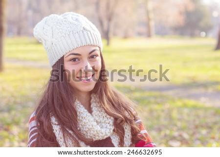 Beautiful happy smiling woman outdoor portrait. #246632695