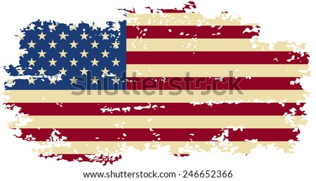 American grunge flag. Vector illustration. Grunge effect can be cleaned easily.