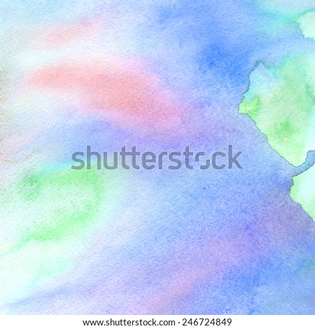 hand painted blue-green-pink watercolor #246724849