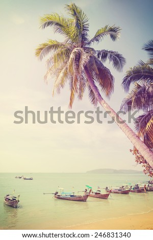 Vintage retro filtered picture of tropical beach.