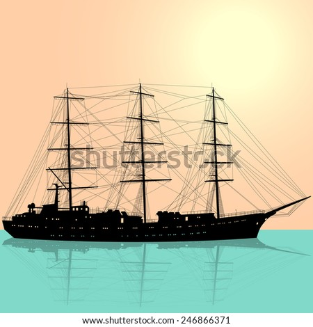Ship sailing boat silhouette isolated on white background.  illustration.