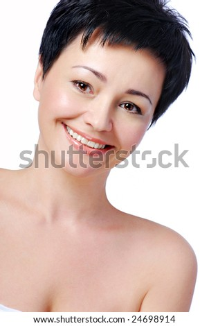 Face of happy smiling beautiful mid adult woman #24698914