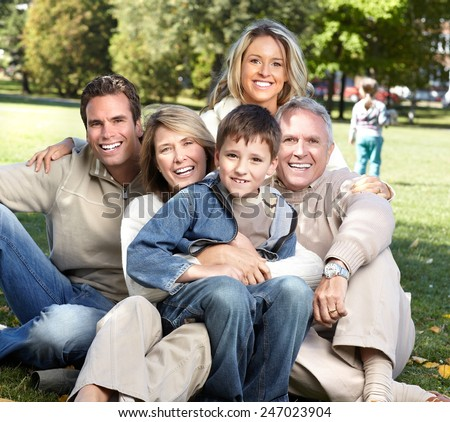 Happy family over park nature background. Recreation #247023904