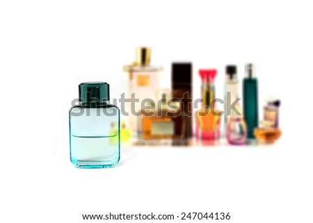 various perfumes collection isolated on white background #247044136
