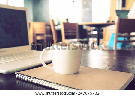 vintage color tone of  cup of coffee  on the table coffee shop #247075732