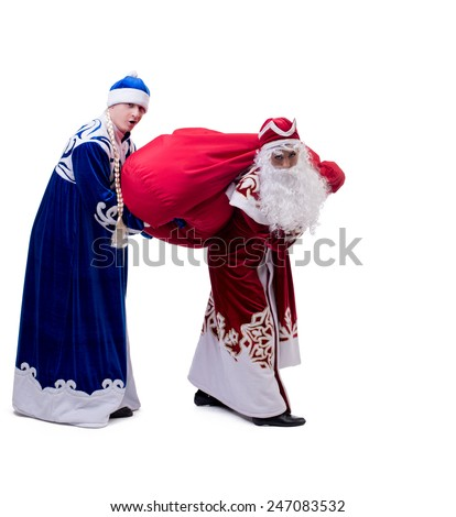 Funny Santa and Snow Maiden exchanged costumes #247083532