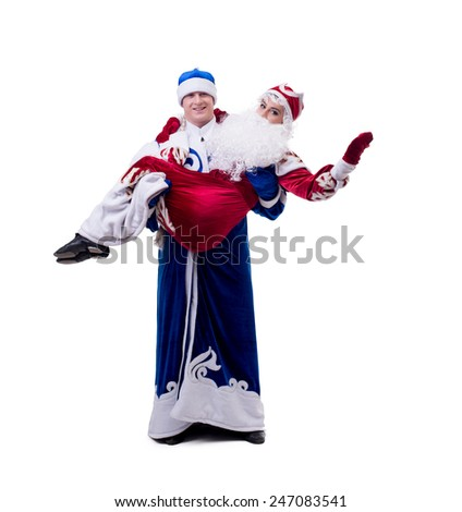 Image of young humorists in Christmas costumes #247083541