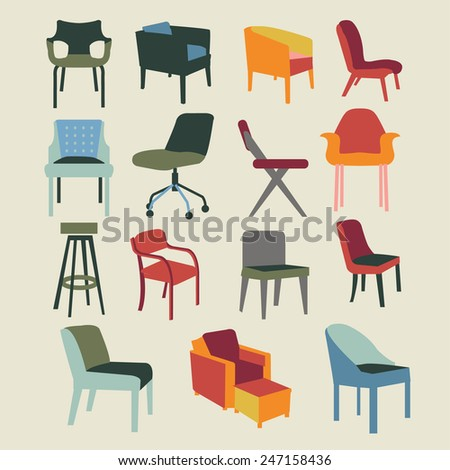 Set icons of chairs interior furniture icon-illustration #247158436