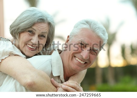 Senior couple resting on the resort during vacation #247259665