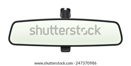 Car Mirror with Copy Space Isolated on White Background. Royalty-Free Stock Photo #247370986
