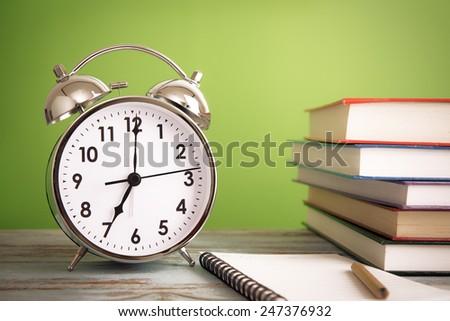 Retro alarm clock with books - retro colored #247376932