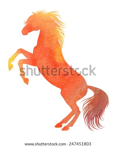 Rearing horse silhouette in watercolor technique, red color #247451803