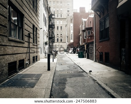 Alley in Center City, Philadelphia. Royalty-Free Stock Photo #247506883