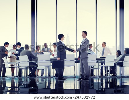 Business People Conference Meeting Handshake Global Concept #247532992