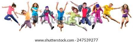 Large group of happy cheerful sportive children jumping and dancing. Isolated over white background. Childhood, freedom, happiness concept. #247539277
