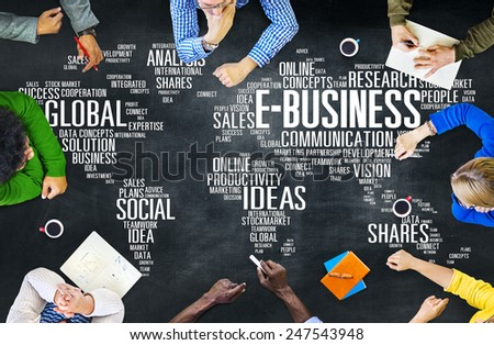 E-Business Global Business Commerce Online World Concept #247543948