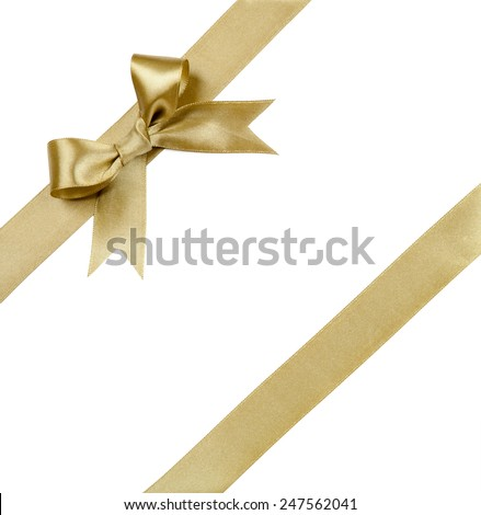 Gift ribbon with bow isolated on white  Royalty-Free Stock Photo #247562041