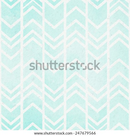 Seamless tribal ikat watercolor mint pattern on a paper background