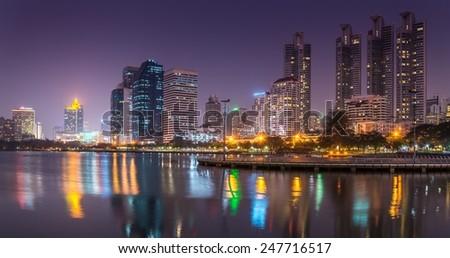 Benjakitti park Bangkok downtown city at night, Thailand #247716517