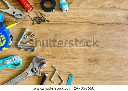 Set of manual tools on wooden background #247856650