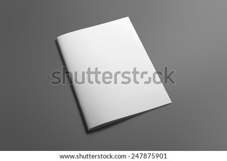 Blank Brochure magazine isolated on grey to replace your design Royalty-Free Stock Photo #247875901