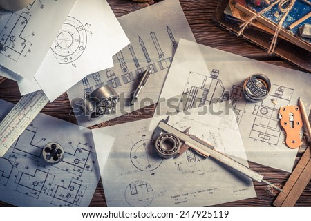 Designing mechanical parts by engineer Royalty-Free Stock Photo #247925119