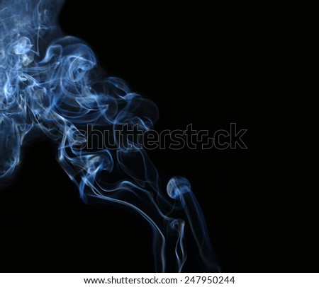 White smoke collection on black background with copy space  #247950244