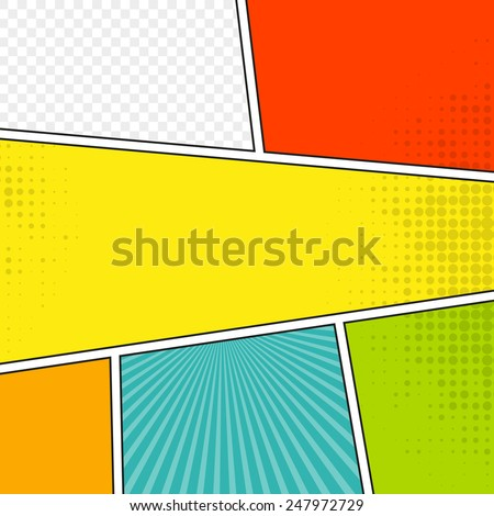 Comic speech bubble background pop-art style. Colorful vector illustration.  Bright cartoon comic