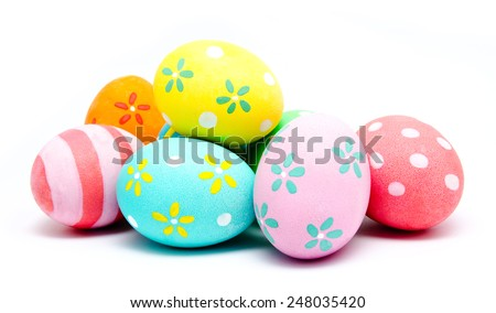 Colorful handmade easter eggs isolated on a white Royalty-Free Stock Photo #248035420