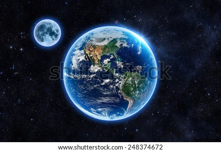 Beautiful Earth and the Moon - Elements of this Image Furnished By NASA