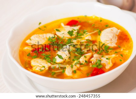 chicken soup with noodle and vegetables #248457355